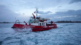 William Lyon Mackenzie in ice, Inner Harbour, Toronto Islands