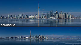 Toronto skyline reflected in black ice, Inner Harbour, Toronto Islands