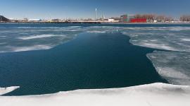 Ice from winter 2014-15 finally melting, Eastern Gap, Toronto Islands