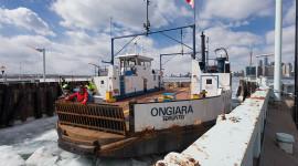 Ferry Ongiara first docking of 2015, Wards Island, Toronto Islands