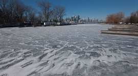 Wind blasted ice near QCYC, Algonquin Island, Toronto Islands