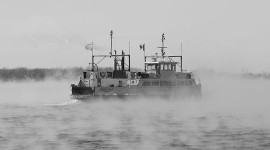 Ferry Ongiara in heavy steam, Inner Harbour, Toronto Islands