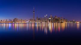 Toronto skyline panorama during earth hour 2016, Centre Island, Toronto Islands