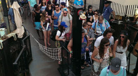 A huge lineup waits to board the ferry William Inglis, Ward's Island, Toronto Islands
