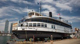 Toronto ferry Trillium in dry dock with Gordon Champion