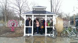 Tourists in the rain, Ward's Island, Toronto Islands