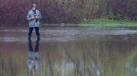 City TV reporter in floodwaters, Ward's Island, Toronto Islands