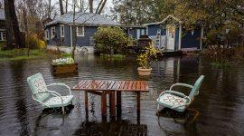 Drowned patio set, Ward's Island, Toronto Islands