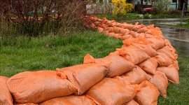Sandbag dike on Bayview Ave., Ward's Island, Toronto Islands