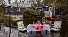 Flooded patio set, Ward's Island, Toronto Islands