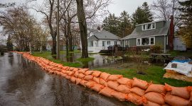 Sandbags on Seneca Ave, Algonquin Island, Toronto Islands