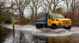 Trucking running flooded road, Snake Island, Toronto Islands