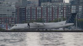 Water inches towards the runways, Billy Bishop airport, Toronto Islands