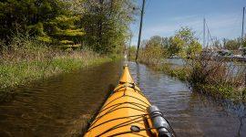 Kayaking over Chippewa Ave, Snug Island, Toronto Islands