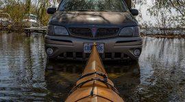 Kayaking past abandoned automobiles, Ward's Island, Toronto Islands