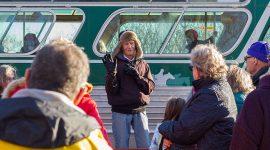 Jimmy Jones explains the history of a memorial bench, Centre Island, Toronto Islands