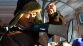 Jimmy Jones with megaphone on the Jimmy Jones Express, Gibraltar Point, Toronto Islands