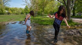 Kids play in the mud during the Flood of 2017, Ward's Island, Toronto Islands