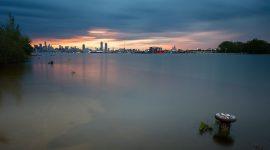 Flooded eastern gap at sunset, Flood of 2017, Ward's Island, Toronto Islands