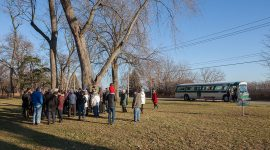 Jimmy Jones Express stops at the plaque for Ted Dinsmore, Centre Island, Toronto Islands