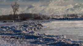 Beach covered in ice, Ward's Island, Toronto Islands