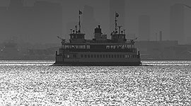 MV William Inglis sailing on light water, Inner Harbour, Toronto Islands