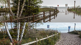 Approach to beach before and after Flood of 2017, Ward's Island, Toronto Islands