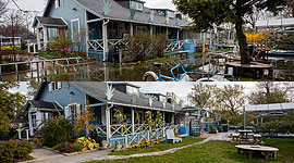 WIA Clubhouse during and after the Flood of 2017, Ward's Island, Toronto Islands