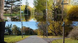 Cibola Ave. flooded towards St. Andrew's church, Center Island, Toronto Islands