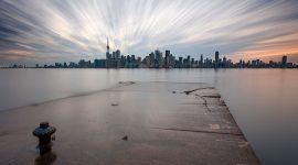 Flooded breakwater, Toronto skyline long exposure, Eastern Gap, Ward's Island, Toronto Islands