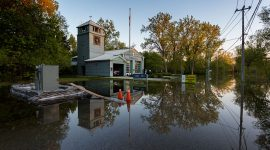 Flooded firehall, 235 Cibola Ave., Ward's Island, Toronto Islands