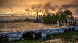 Stormclouds over sandbags in front of ferry docks, Ward's Island, Toronto Islands