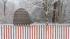 Snow fence and Montessori shed, Ward's Island, Toronto Island