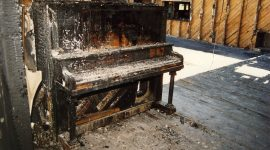 Fire scorched piano, AIA Clubhouse, Algonquin Island, Toronto Islands