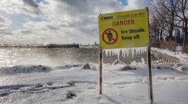 High winds on ice unsafe sign, Ward's Island, Toronto Islands